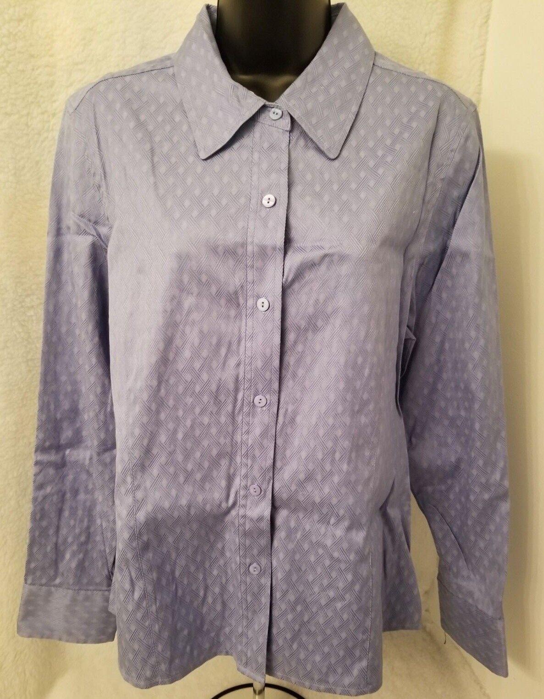 Rafaella NWOT damen Blau Texturot Design Button Down Hemd Top Blouse Größe 16