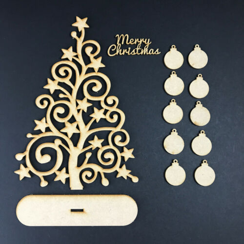 MDF Wooden Family Tree Set with Baubles Christmas Tree SWIRL STAR TREE KIT STAND