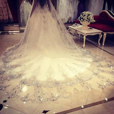 white Beads Crystals Bridal Wedding Veil Cathedral Long 1 T + Comb 3 M  18579/