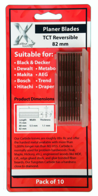 82mm Reversible Carbide Planer Blades to suit Bosch PHO16-82