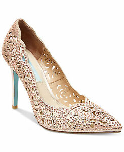 3a99e12332d1 Image is loading Blue-Betsey-Johnson-Bridal-Wedding-Bridesmaid-Pumps-Heels-