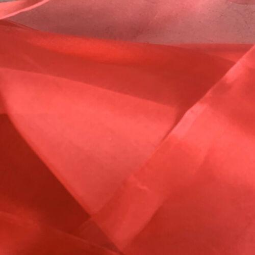 5 encantadora 100/% seda de morera de Organza. por la yarda X 130cm de ancho. Rojo
