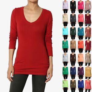 TheMogan-Juniors-BASIC-V-Neck-Stretch-LONG-SLEEVE-TEE-SHIRTS-Plain-Stretch-Top