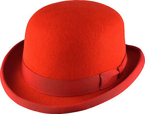 RED HAND MADE BOWLER HAT 100% Wool Felt Satin - MANY COLOURS  090e354441fe