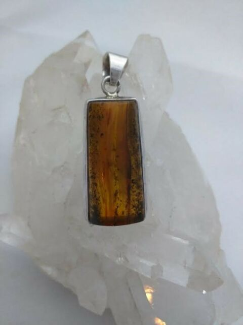 Large Vintage Baltic Amber Pendant set in Sterling Silver for Necklace Genuine