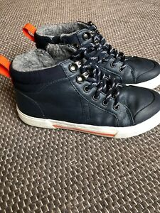 Boys Junior Trainers  Suede Navy Skate Chunky Lace Up 67354 Sizes 2-7