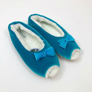 NWT-Snoozies-Peep-Toe-Turquoise-Blue-Slippers-Non-Slip-US-Size-11-12-XL