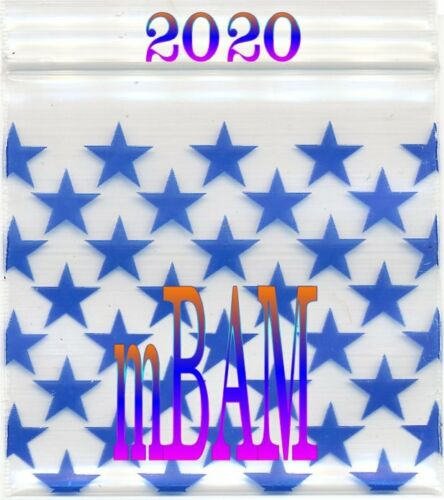 "100 PACK BLUE STARS 1515 Apple Zip Baggies 1.5X1.5/"" Mini Bags"
