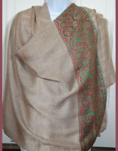 Handwoven-Pashmina-Cashmere-Blend-Shawl-Tan-Color-Paisley-Design-India