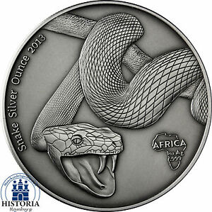 Afrika-Serie-Gabun-1000-Francs-CFA-2013-Antique-Finish-Snake-Silver-Ounce