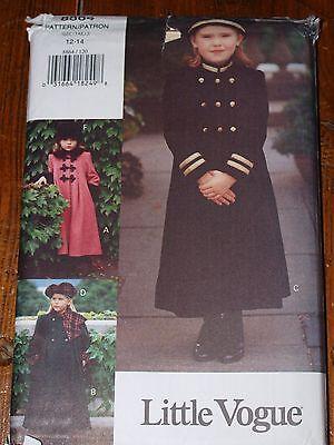 Pattern Vogue 8864, Girl's A-Line Coat & Hat Sizes 12-14 Uncut Factory Folded