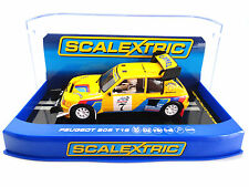 "Scalextric ""Camel"" Peugeot 205 T16 DPR W/ Lights 1/32 Slot Car C3641"