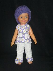 Ideal Cinnamon NO Doll OOAK Purple Daisy Pants Shirt Hat Belt