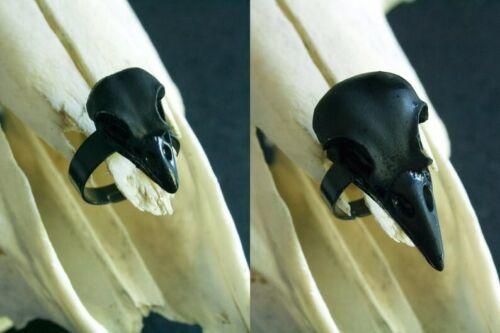 Corbeau Noir Skull ring WICCA PAGAN GOTHIQUE Réglable Bague Pour Femmes Hommes Cadeau
