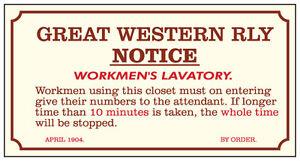 METAL-RAILWAY-SIGN-GWR-WORKMENS-LAVATORY-TOILET