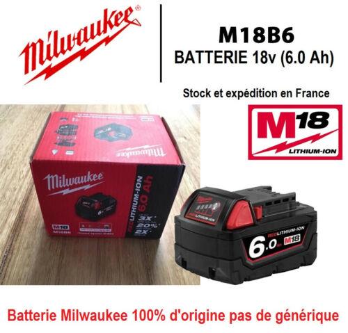 Milwaukee Batterie M18B6 18v 6.0Ah Original Battery 6000mAh