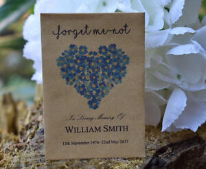 unfilled 30 Funeral Favour Personalised Seed Packets Forget Me-not Remembrance