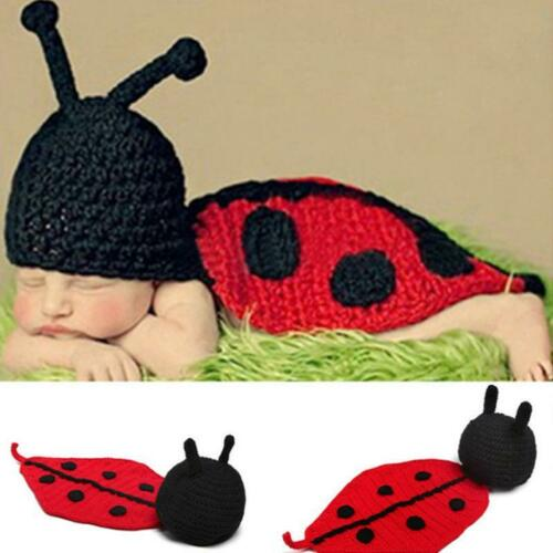 Newborn Baby Ladybug Knit Crochet Clothes Hat Photo Photography Prop Outfit