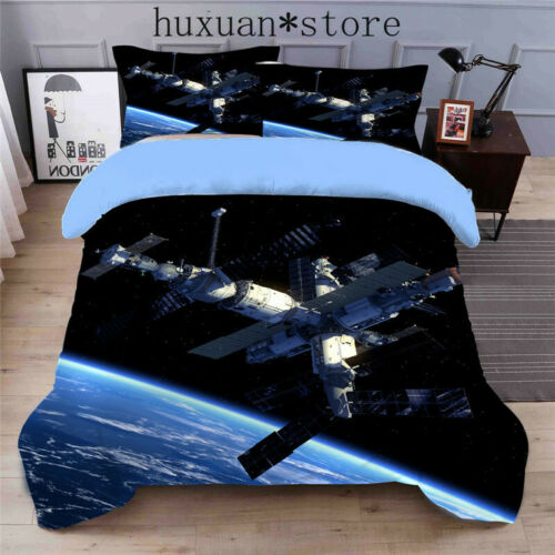 Outer Space Galaxy Print Bedding Duvet Cover Sets 4 Piece Twin Full Queen King