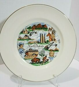 Vintage Collectors Ceramic Dinner Plate - States - North Dakota
