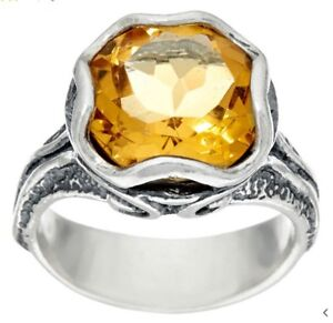 OR PAZ Sterling Silver 925 Citrine Floral Ring Made in Israel