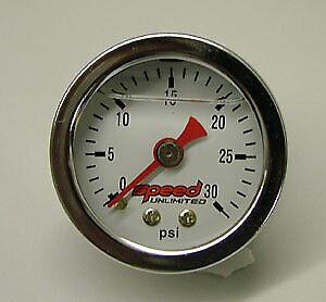 "Speed 101L Fuel Pressure Gauge 1.5"" 0-30 psi. Liquid Filled 1/8"" NPT"