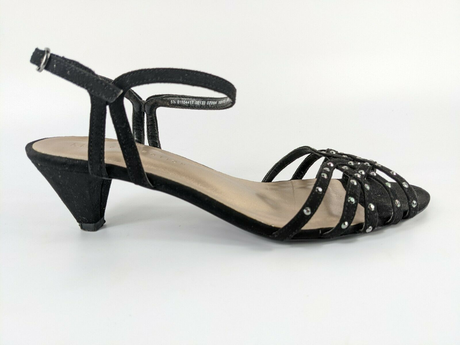 M & S Collection Black Faux Suede Low Heel Sandals Uk 5.5