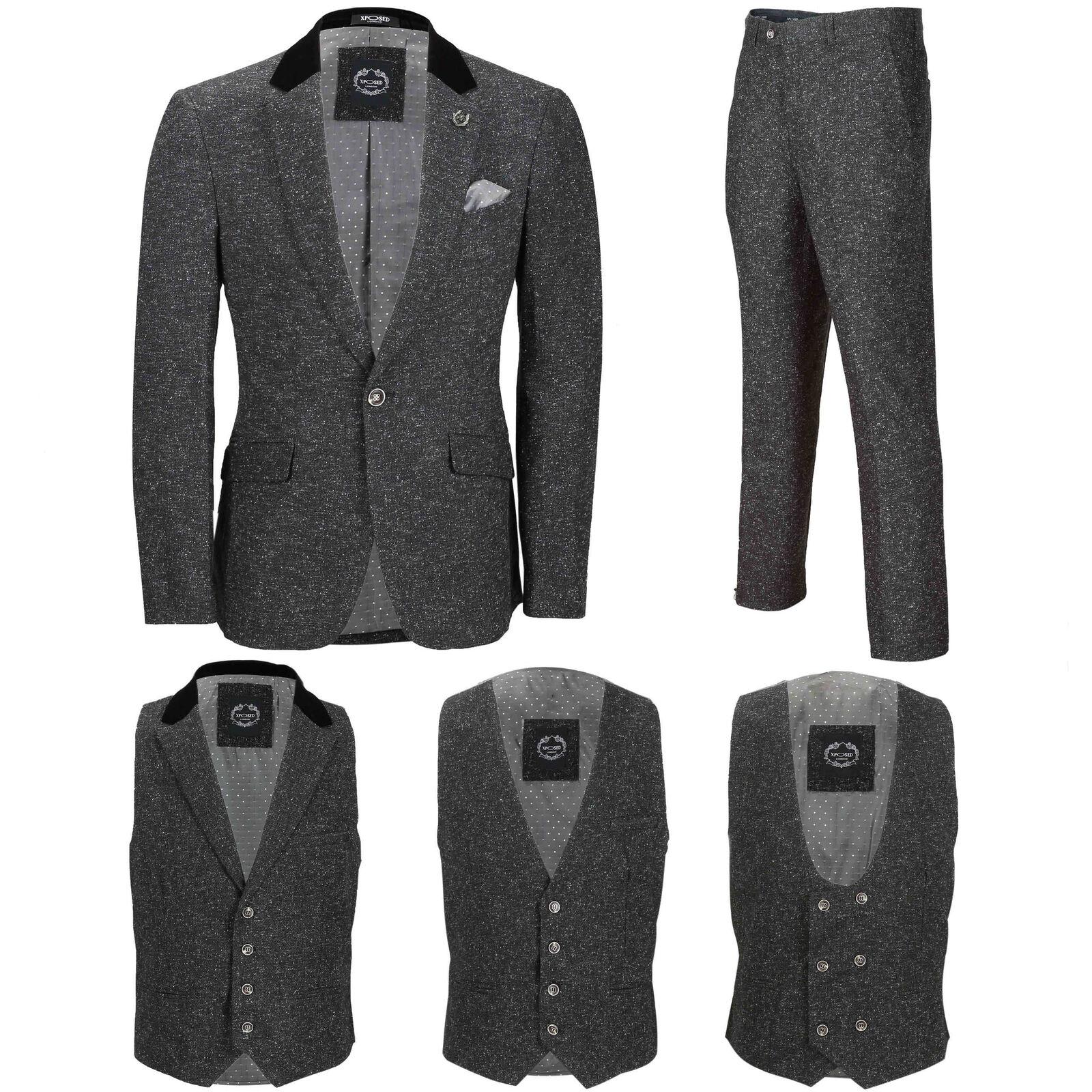 Mens Grey Tweed Wool 3 Piece Suit Sold Separately Retro Blazer Waistcoat Trouser