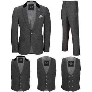 Para-hombre-Traje-de-3-piezas-de-lana-en-gris-se-vende-por-separado-Retro-Blazer-Chaleco-Pantalones
