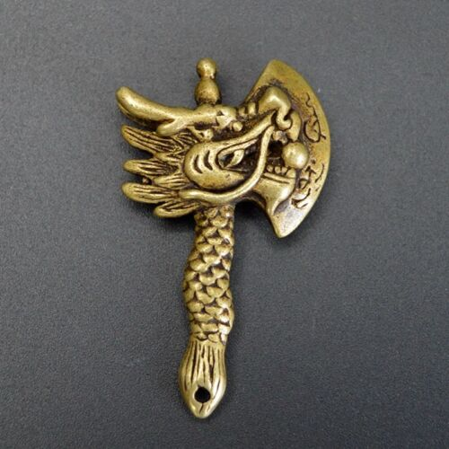 Chinese old collection handwork bronze Zodiac dragon head Hatchet  Pendant