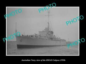 OLD-LARGE-HISTORIC-PHOTO-OF-AUSTRALIAN-NAVY-SHIP-HMAS-CULGOA-c1950