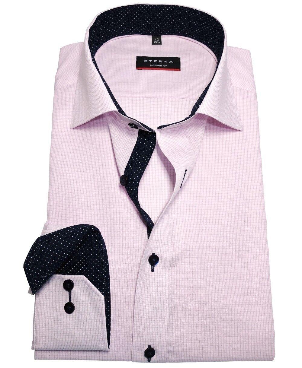 Eterna Modern Fit Langarmhemd pink Gitterkaro Patches in dunkelblue Gr. 40 - 48