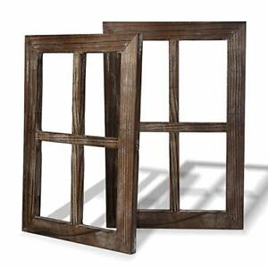 2X-Rustic-Wall-Decor-Xmas-Gift-Window-Barnwood-Frames-Farmhouse-Decoration