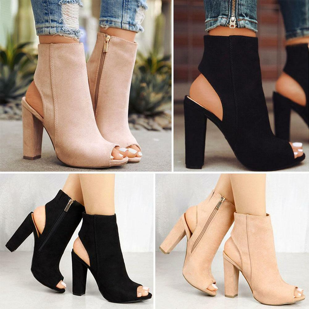 Fashion Women High Heels Suede Boots Shoes Sexy Peep Toe Sandals Shoes Boots 4bb65c