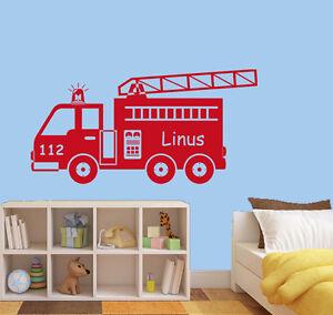 Wandtattoo Aufkleber Feuerwehr Mit Wunschname Kind Auto Kinderzimmer