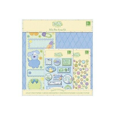 """BABY BOY Sweet Pea Scrapbook Page Paper Stickers Kit 12""""x12"""" K & Company"""