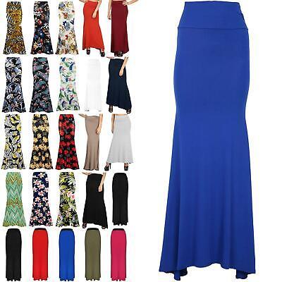 New Womens Maxi Gypsy Skirt Ladies Plain Long Length Skirts Size Uk 8 To 26