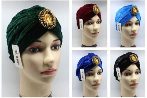Luxe Jewel Velvet Turban Beanie Hat Indian Arab Moroccan Hijab Beaded Headband