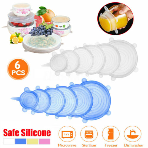 6Pcs Set Stretch Silicone Food Bowl Cover Safe Storage Wraps Seals Reusable Lids