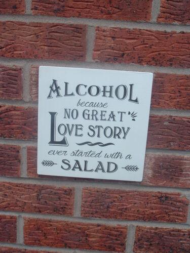 Shabby Vintage Chic alcool Love Story salade Fête De Mariage Signe Plaque 8x8