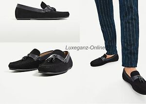 cdd84218 ZARA MAN TASSELLED COW LEATHER SUEDE LOAFERS FLAT MEN SHOES NEW NAVY ...