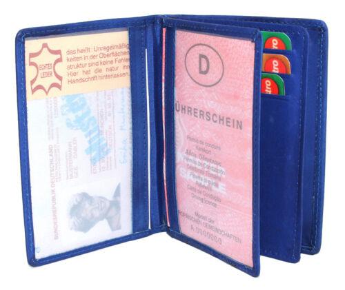 Echt Leder Ausweismappe Ausweistasche Visitenkarten Kartenetui Damen Herren blau