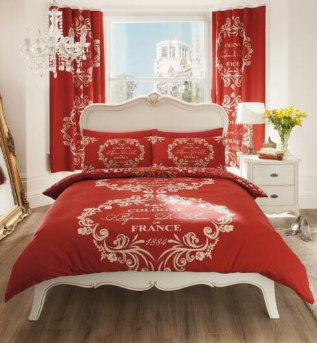 France 1884 Script Modern Duvet Cover Floral Bedding Set