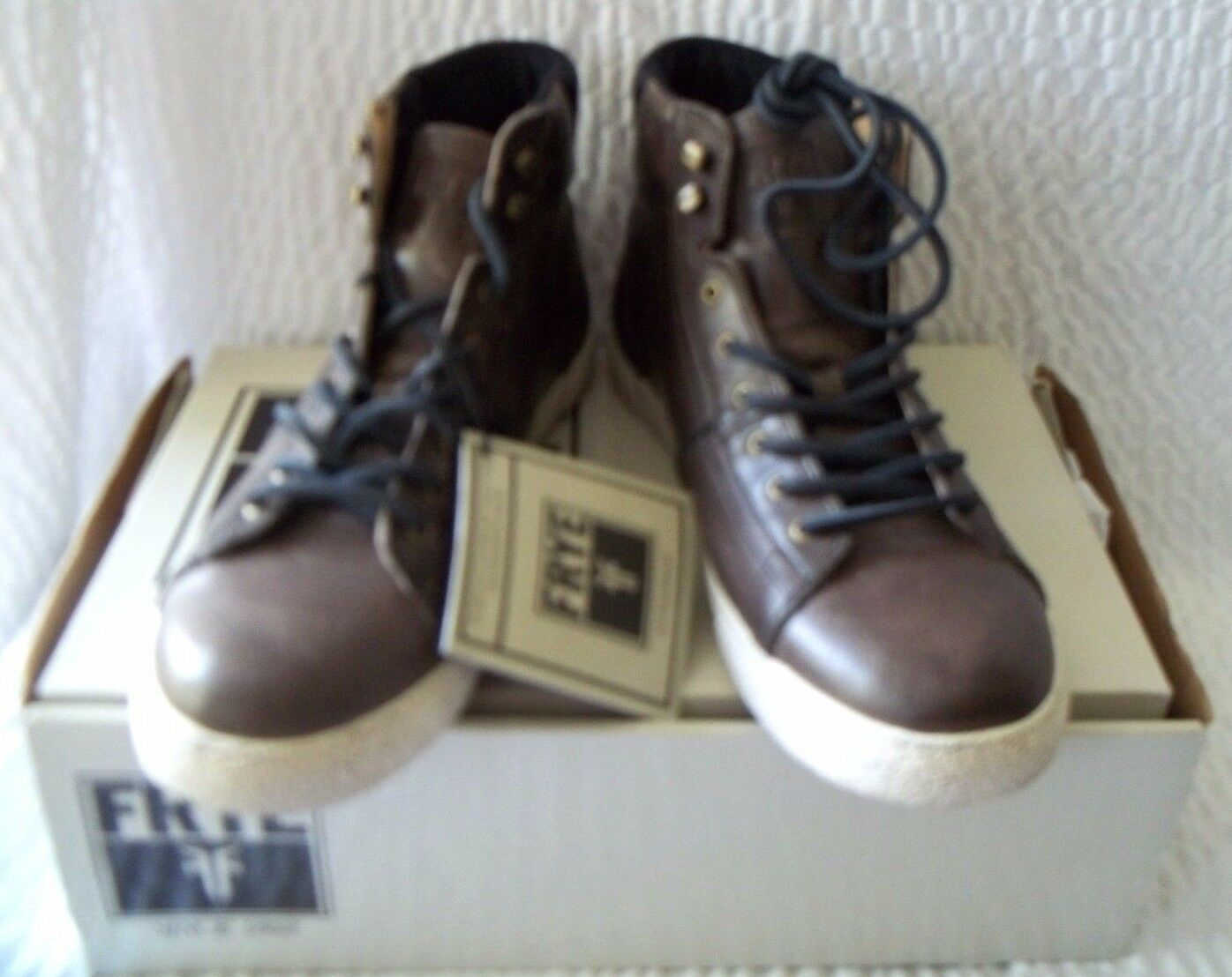 ac3c983cdafe Frye Bedford Bedford Bedford High Top Charcoal Brown Leather Men s Sneakers  Size 10 1 2