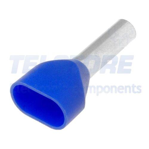 20pcs H2.5//18.5D2//BL Capicorda a boccola doppio isolato 2,5mm2 10mm stagnato WEI