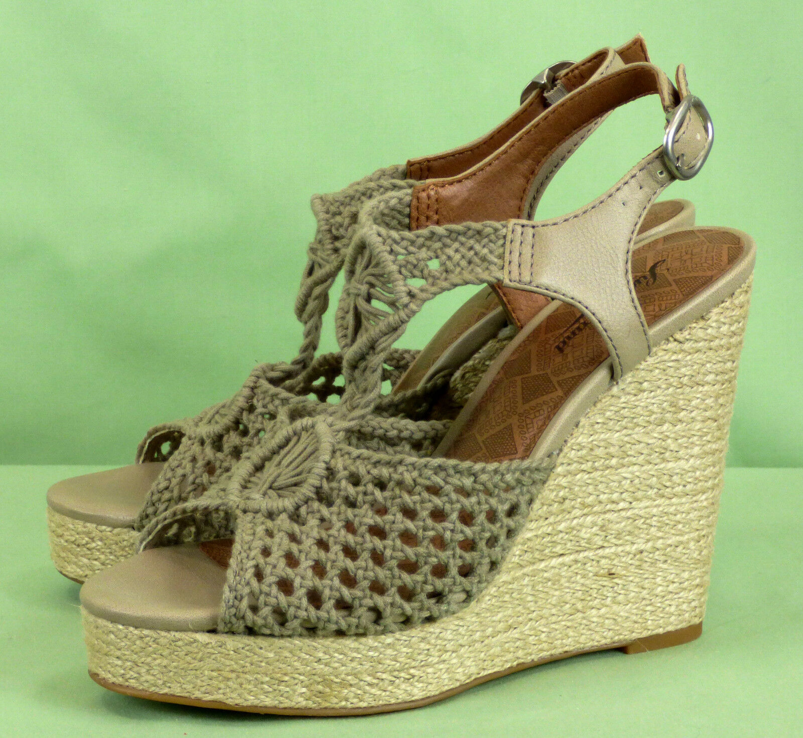 349 NWOB Lucky Brand woven wedge platform heels shoes sandals leather NEW 8.5M