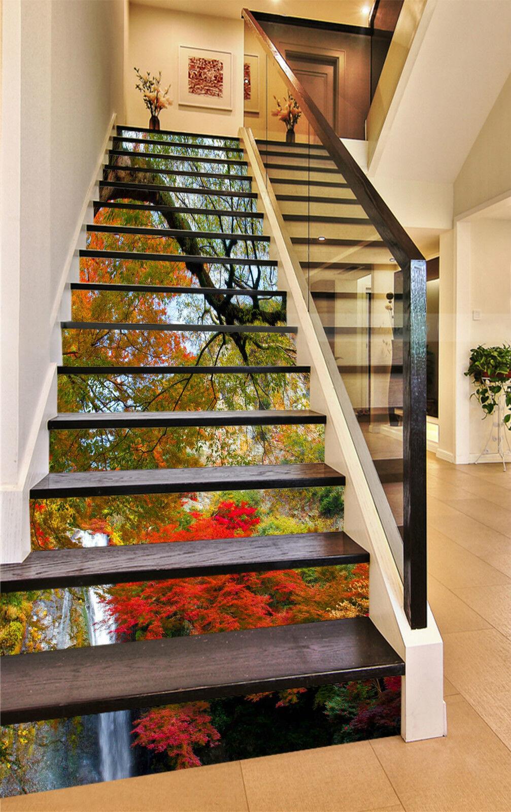 3D Wald Ansicht 853 Stair Risers Dekoration Fototapete Vinyl Aufkleber Tapete DE