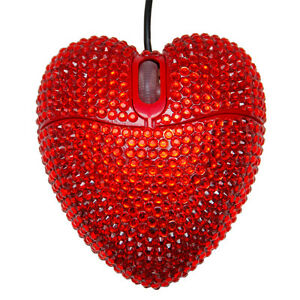 9f5eda7714b Details about RHINESTONE CRYSTAL DIAMANTE BLING GLITTER SPARKLE RED HEART  USB COMPUTER MOUSE