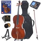 Cecilio Flamed Solidwood Cello Size 4/4 3/4 1/2 1/4+Tuner+Hard Case+Book~CCO-300
