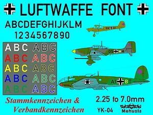 Details about 1/144 1/200 1/100 1/72 Decals German Luftwaffe Aircraft  Letters & Numbers YK-04